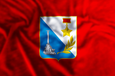 Sevastopol stylish waving and closeup flag illustration. Perfect for background or texture purposes. Imagens