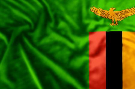 Zambia stylish waving and closeup flag illustration. Perfect for background or texture purposes.