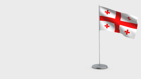 Georgien 3D Flag isolated on white background. Waving in wind on steel flagpole.