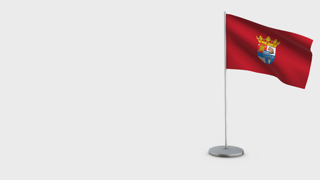 Segovia 3D Flag isolated on white background. Waving in wind on steel flagpole.