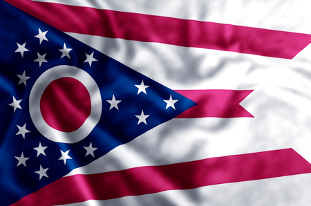 Ohio stylish waving and closeup flag illustration. Perfect for background or texture purposes.
