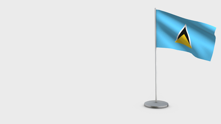 Saint Lucia 3D Flag isolated on white background. Waving in wind on steel flagpole. Imagens