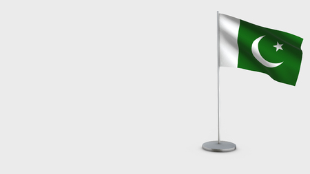 Pakistan 3D Flag isolated on white background. Waving in wind on steel flagpole. Imagens