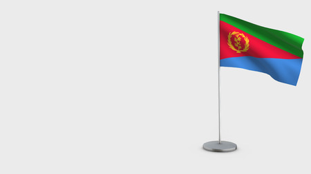 Eritrea 3D Flag isolated on white background. Waving in wind on steel flagpole.