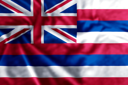 Hawaii stylish waving and closeup flag illustration. Perfect for background or texture purposes.