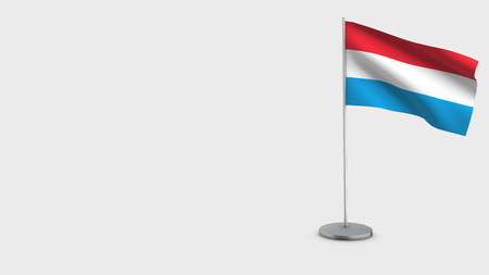 Luxembourg 3D Flag isolated on white background. Waving in wind on steel flagpole.