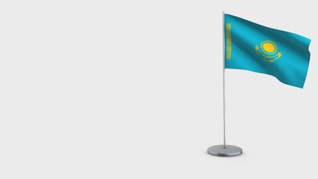 Kazakhstan 3D Flag isolated on white background. Waving in wind on steel flagpole. Imagens