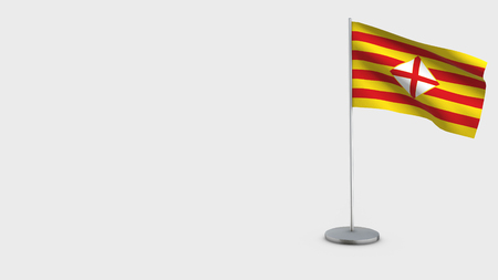 Barcelona 3D Flag isolated on white background. Waving in wind on steel flagpole.