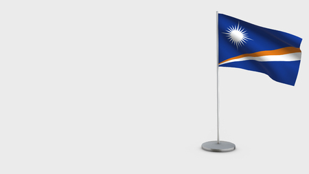 Marshall Islands 3D Flag isolated on white background. Waving in wind on steel flagpole.