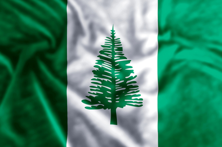 Norfolk Island stylish waving and closeup flag illustration. Perfect for background or texture purposes.