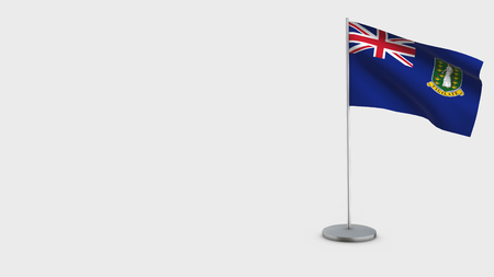 British Virgin Islands 3D Flag isolated on white background. Waving in wind on steel flagpole.