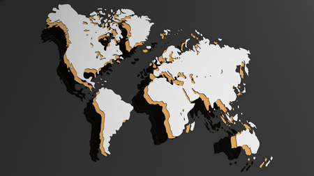 White 3D world map illustration isolated