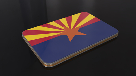Arizona 3D glossy flag object isolated on black background.