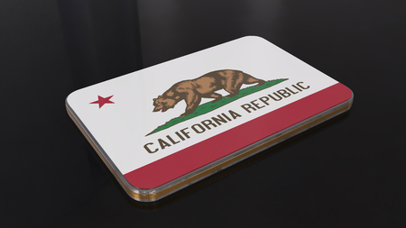 California 3D glossy flag object isolated on black background.