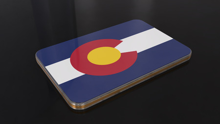 Colorado 3D glossy flag object isolated on black background. Imagens