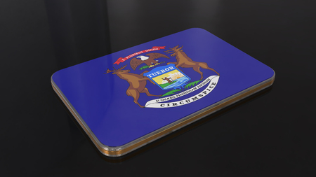 Michigan 3D glossy flag object isolated on black background. Imagens