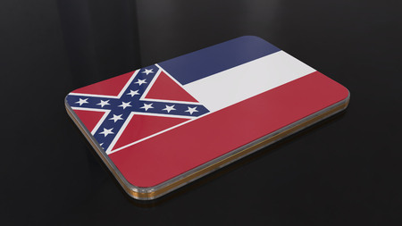 Mississippi 3D glossy flag object isolated on black background.