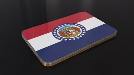 Missouri 3D glossy flag object isolated on black background.