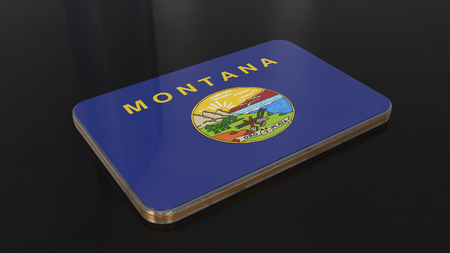 Montana 3D glossy flag object isolated on black background. Imagens