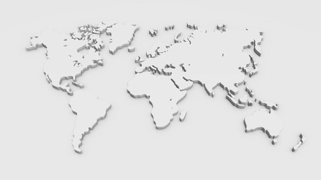 White 3D world map illustration isolated on white background.