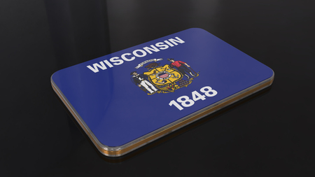 Wisconsin 3D glossy flag object isolated on black background. Imagens