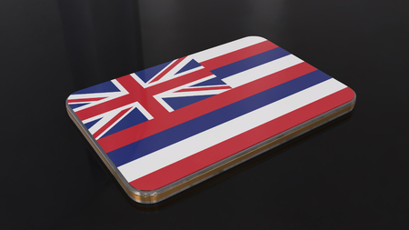 Hawaii 3D glossy flag object isolated on black background.