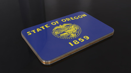 Oregon 3D glossy flag object isolated on black background. Imagens