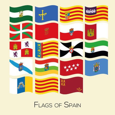 Flag set of all spanish provices. Vector Collection of flag icons. Each flag on separate layer.