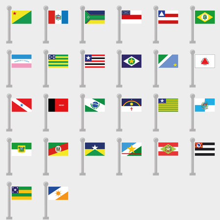 Flag set of all States of Brazil. Vector Collection of flag icons. Each flag on separate layer.