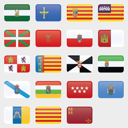 Flag set of all spanish provices. Glossy Flag Button. Vector Collection of flag icons. Each flag on separate layer.
