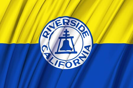 Riverside California waving flag illustration. Regions and Cities of the United States. Perfect for background and texture usage.