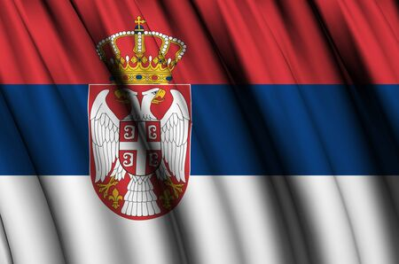 Serbia waving flag illustration. Countries of Europe. Perfect for background and texture usage.