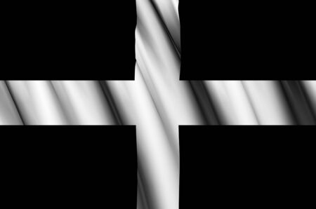 Cornwall waving flag illustration. Regions of England and United Kingdom. Perfect for background and texture usage. Banco de Imagens