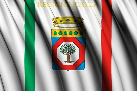 Apulia waving flag illustration. Regions of Italy. Perfect for background and texture usage.