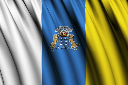 Canary Islands waving flag illustration. Regions and cities of Spain. Perfect for background and texture usage.