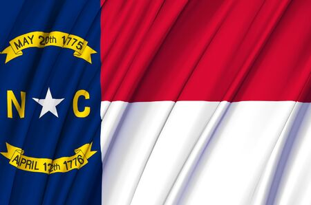 North Carolina waving flag illustration. US states. Perfect for background and texture usage. Фото со стока