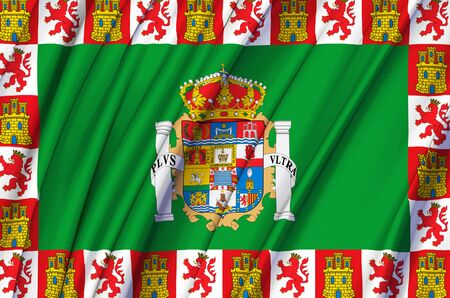 Cadiz waving flag illustration. Regions and cities of Spain. Perfect for background and texture usage. 写真素材
