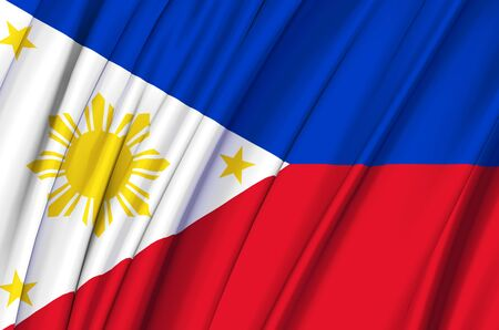 Philippines waving flag illustration. Countries of Asia. Perfect for background and texture usage.