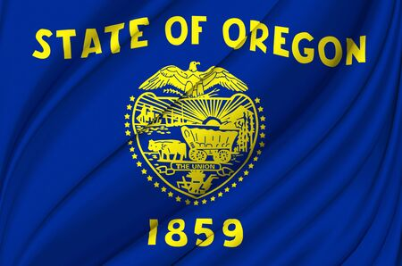 Oregon waving flag illustration. US states. Perfect for background and texture usage.