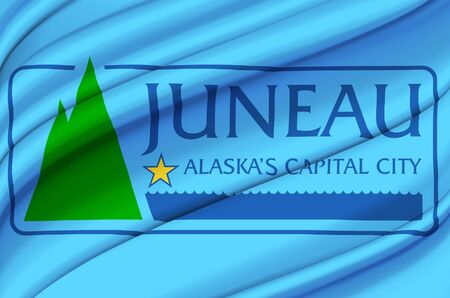 Juneau Alaska waving flag illustration. Regions and Cities of the United States. Perfect for background and texture usage.