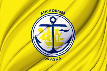 Anchorage Alaska waving flag illustration. Regions and Cities of the United States. Perfect for background and texture usage. Фото со стока