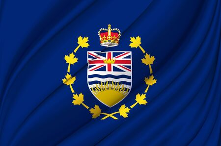 Lieutenant-Governor Of British Columbia waving flag illustration. States, cities and Regions of Canada. Perfect for background and texture usage. 스톡 콘텐츠