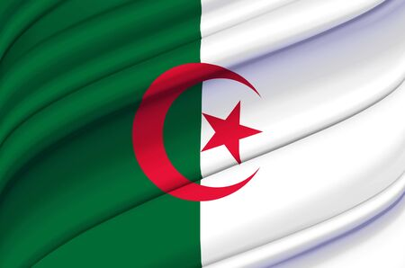 Algeria waving flag illustration. Countries of Africa. Perfect for background and texture usage. Zdjęcie Seryjne