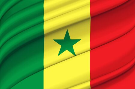 Senegal waving flag illustration. Countries of Africa. Perfect for background and texture usage.