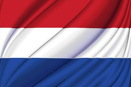 The Netherlands waving flag illustration. Countries of Europe. Perfect for background and texture usage.