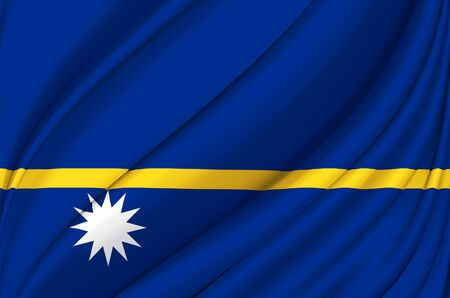 Nauru waving flag illustration. Countries of Australia and Oceania. Perfect for background and texture usage.