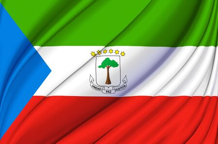 Equatorial Guinea waving flag illustration. Countries of Africa. Perfect for background and texture usage.