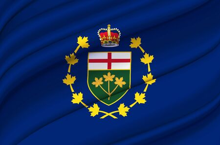 Lieutenant-Governor Of Ontario waving flag illustration. States, cities and Regions of Canada. Perfect for background and texture usage.