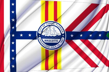 Tampa Florida waving flag illustration. Regions and Cities of the United States. Perfect for background and texture usage.