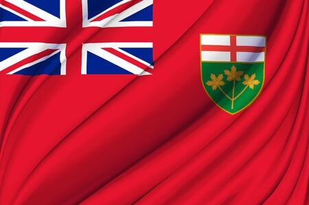 Ontario waving flag illustration. States, cities and Regions of Canada. Perfect for background and texture usage.